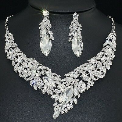 YT2215 Clear Rhinestone Crystal Earrings Necklace Set Bridal Wedding Party Gift