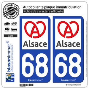 2 Sticker Autocollant Plaque Immatriculation | 68 Alsace - Région Ii | Haut-rhin Acheter Maintenant
