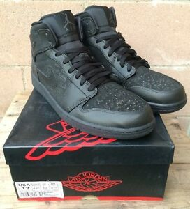 e801816e752141 NIKE AIR JORDAN 1 MID Black Full Laser Limited 166 Flatbush SZ13 ...