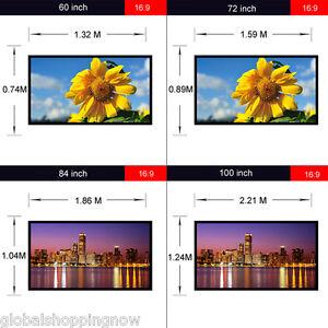 60 Pulgadas Projection Projector Screen Pantalla de proyección 16:9 PVC Portátil