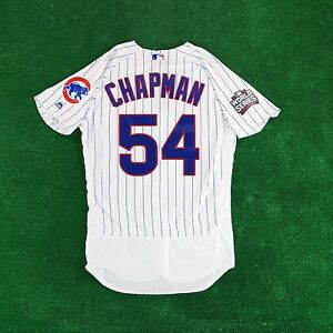low priced f84e7 f8e5b Details about 2016 Aroldis Chapman Chicago Cubs AUTHENTIC World Series Flex  Base Home Jersey