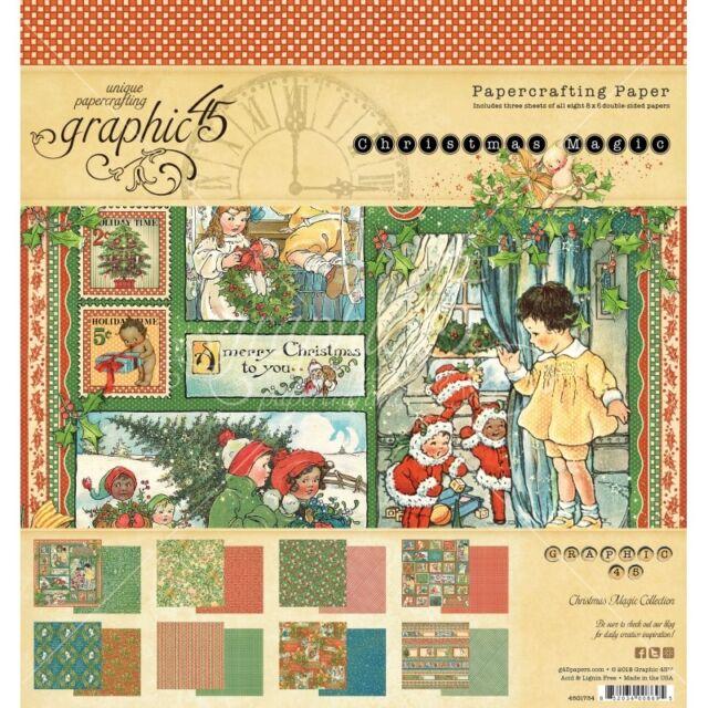 "NEW  Graphic 45 8"" x 8"" Paper Pad Christmas Magic"