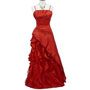Robe De Soiree Grande Taille Longue Rouge A Froufrous Taille 48 50 Ebay