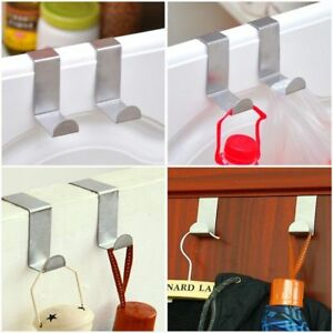 OVER THE DOOR HOOK CHROME PLATED BATH ROOM CLOTHES TOWEL HANGER /& REVERSIBLE
