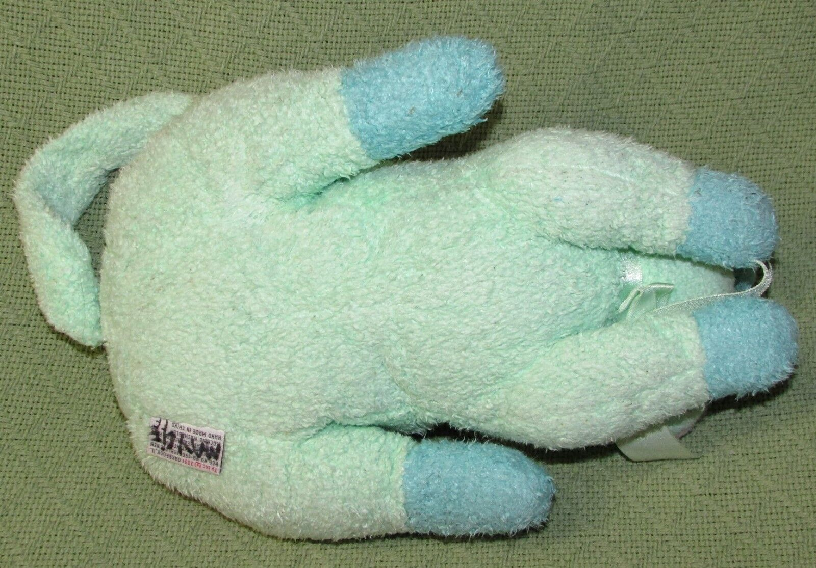 12  Ty KITTYBABY PILLOW PALS Rattle PASTEL GREEN GREEN GREEN Terry Cloth Stuffed 2001 Cat cbe791