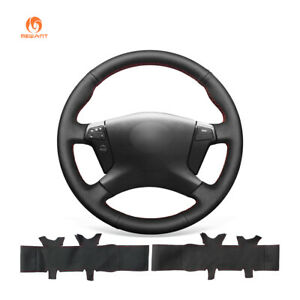Black Artificial Leather Steering Wheel Cover Wrap for Toyota Avensis 2003-2008