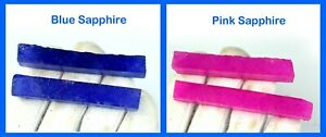 Gift Sales Blue & Pink Sapphire 240 Ct+ Gemstone Slice Rough Natural 4 Pcs Lot