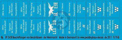 Peddinghaus 1//16 Wehrmacht Waffen-SS /& Luftwaffe Fuel /& Oil Drum Markings 2458