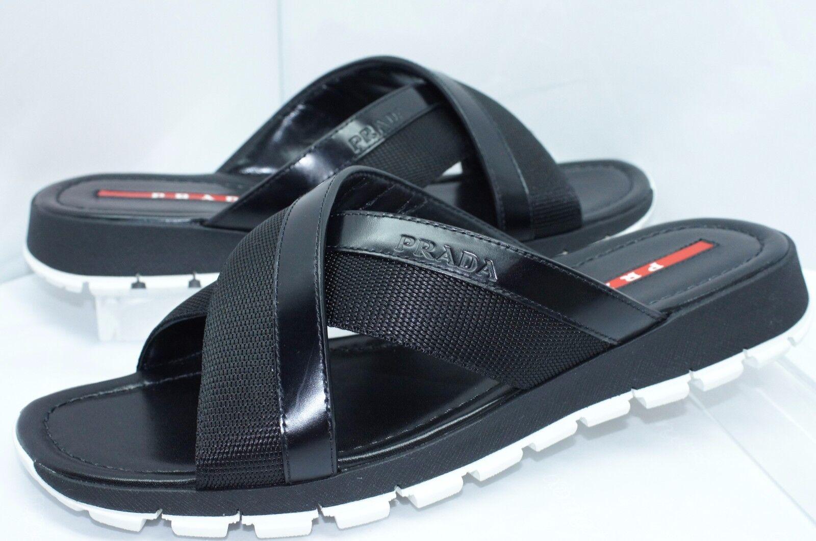 New Prada Men's Sandals shoes Size 8 Black Calzature men Sale