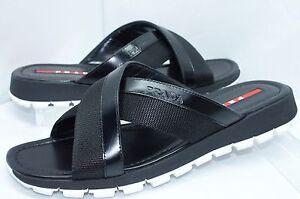 7b816c0d5 New Prada Men s Sandals Shoes Size 8 Black Calzature Uomo Sale ...