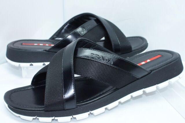 03f76bc9d4ab6 PRADA Black Mens Shoes Size 8 Calzature Uomo Sandals Flip Flaps for ...