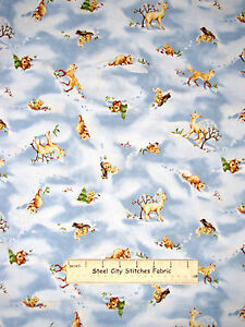 Christmas O Snowy Night Baby Animals Snow #19910 Fabric ...