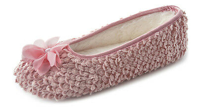 LADIES GIRLS KNITTED BALLERINA FLOWER FUR SLIPPERS PINK CREAM Size 3/4 5/6 7/8