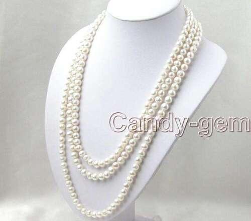 """Long 80/"""" Blanc Naturel 7-8 mm Rond d/'eau douce collier de perles pour femmes nec1074"""