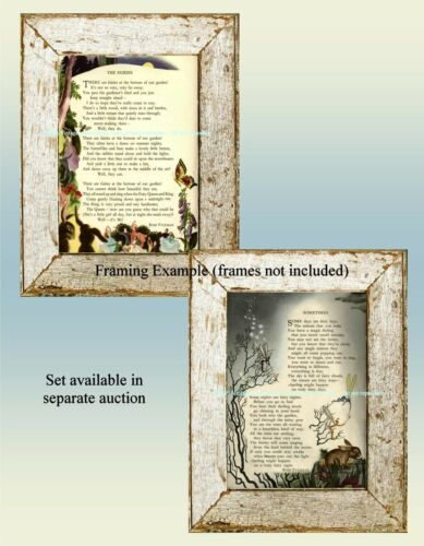 """Vintage FAIRIES in our GARDEN /""""The Fairies/"""" Illustrated Childrens Poem ART PRINT"""