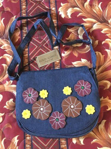 Applique Women Denim Bag New Coast Gold Floral wIzqUS