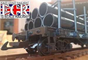 G-SCALE-45mm-GAUGE-FLATBED-WITH-7-PIPE-LOAD-RAILWAY-TRUCK-GARDEN-TRAIN-FLAT-BED