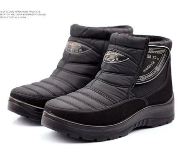 Mens Winter Mid Calf Boots pull on Lofer fur lined Warm Snow Casual ankle shoes