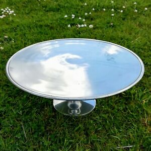 Spun-Aluminium-Cake-Stand-Vintage-Style-Polished-Top-Brushed-Silver-32cm-Display