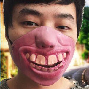 Half-Face-Latex-Costume-Fool-039-s-Day-Halloween-Clown-Scary-Mask-Party-Horrible