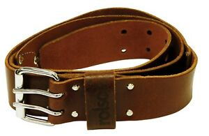 "Leather Work Belt Heavy Duty Professional 2"" Wide 36-46"" Long 2 Pin Metal Buckle"