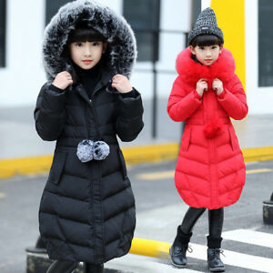 Winter-Girls-Kids-Padded-Quilted-Coats-Puffer-Jackets-Big-Fur-Hooded-Long-Parka