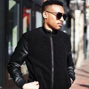 8cd692af9 Details about ZARA MAN BLACK SHEARLING BOMBER JACKET WITH FAUX LEATHER  SLEEVES REF. 4341/342