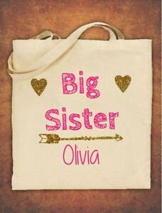 Image Is Loading Personalised Big Sister Birthday Gift Kids Tote Bag