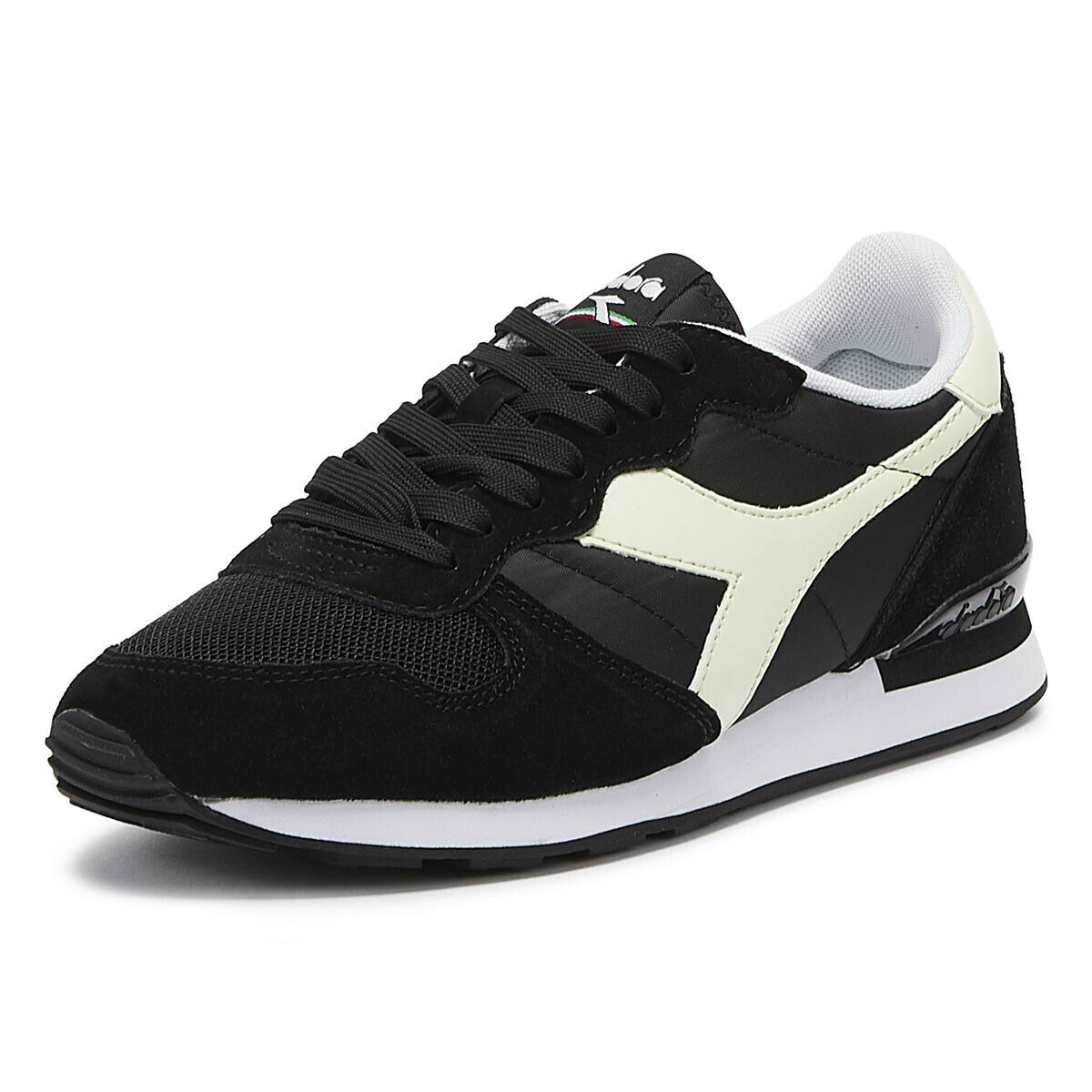 Diadora Camaro Mens Black   White Trainers Lace Up Sport Casual shoes