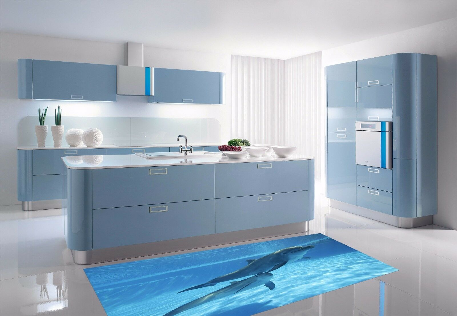 3D Cute Dolphin 9 Kitchen Mat Floor Murals Wall Print Wall AJ WALLPAPER AU Carly