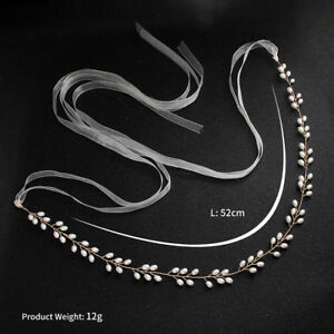 Women-Handmade-Ribbon-Rhinestone-Pearl-Crystal-Sash-Wedding-Dress-Belt-gift