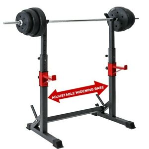 Details about  /Adjustable Squat Rack Bench Press Power Weight Rack Barbell Stand Gym Home US