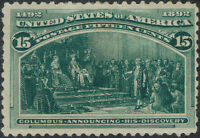 TMM* 1893 US Stamp Columbian Exposition Scott #238 F/VF mint/heavy hinge/old gum