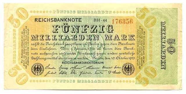 Germany Weimar Republic Reichsbanknote 50 Milliarden Mark 10.10. 1923 F/VF #117b