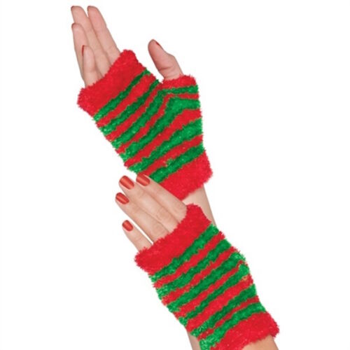 Womens Ladies Fuzzy Elf Fingerless Gloves Christmas Fancy Dress Party Accessory
