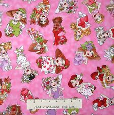 Cartoon Ladies Fabric - Fast Women Toss on Pink - Loralie Designs YARD