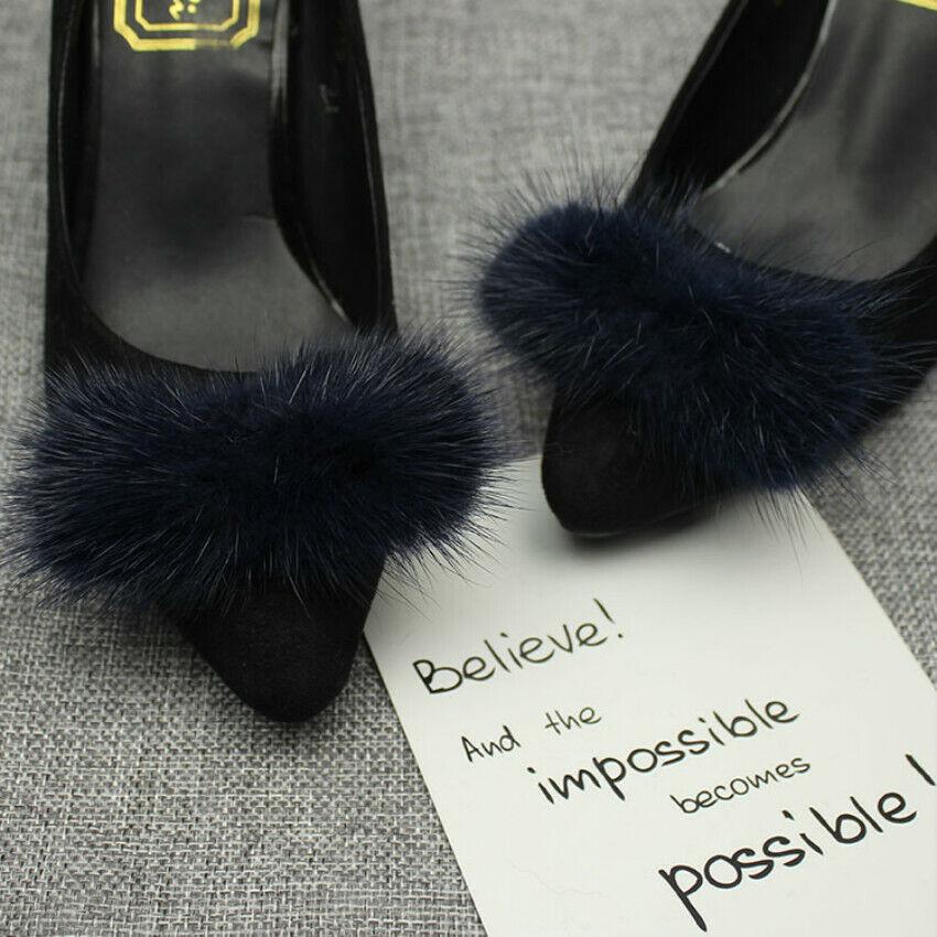 Shoe Clips Mink Fur Hair Pom Pom Bow Fluffy Ornament Heels Charm DIY 9cm*4cm