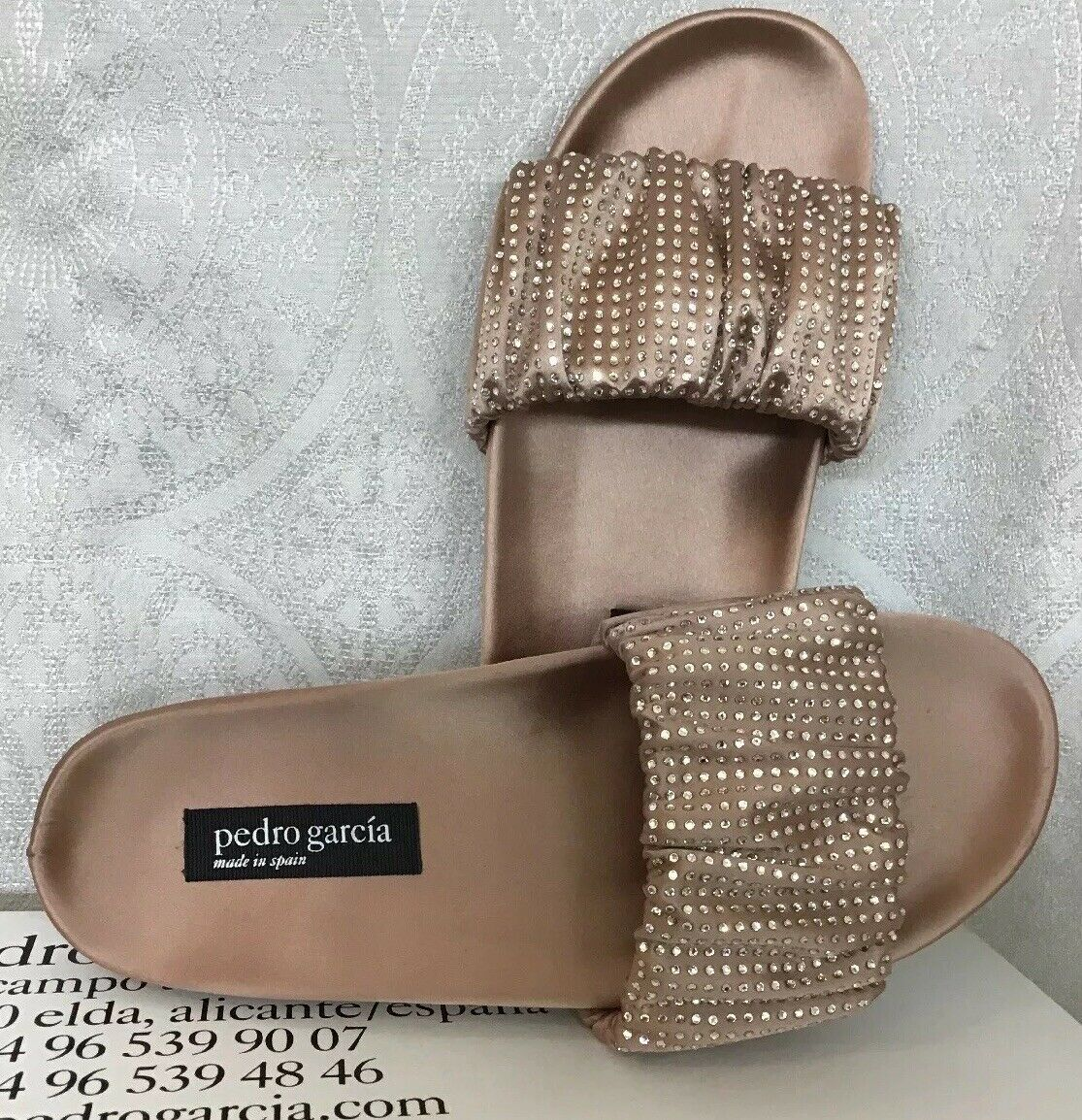 Pedro Garcia Adana shoes Bisque Satin Rhinestones Slide NWB Size 36 1 2  695