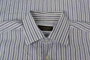Canali-Brown-Label-White-Blue-Striped-Cotton-Spread-Collar-Dress-Shirt-Sz-17