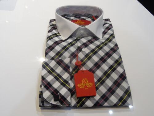 Steven Land Shirt White spread Collar Black White Yellow Pink Plaid french cuff