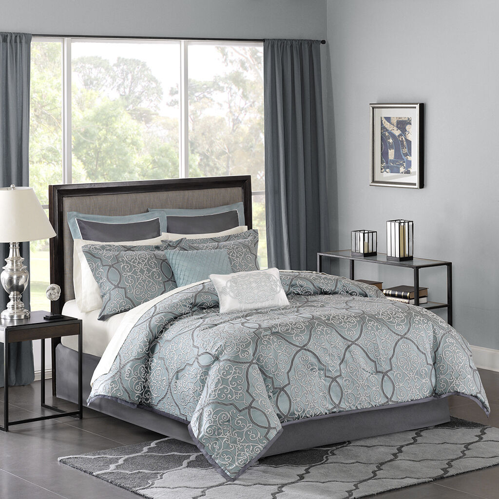 Beautiful Deluxe Blau Jacquard Comforter 12 pcs Set Cal King Queen New B bedding