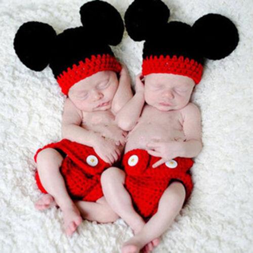 Mickey Minnie Maus Baby Häkelkostüm Strickkostüm Fotoshooting Mütze Hose Outfit