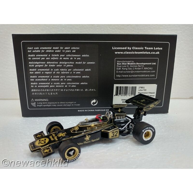 Lotus 72D EMERSON Fittipald 1972 Belgian GP SUN STAR MODEL 1 43