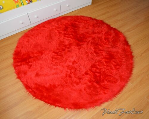 bright red 5/' round area rug faux fur throw rug acrylics nonslip suede backing