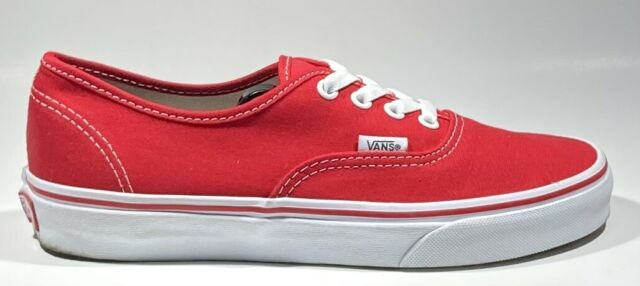 VANS Original Red Canvas Lace Up Low Top Skate Shoes Size 6 Men's 7.5 Women's