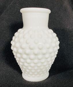 Vintage-Hobnail-White-Milk-Glass-Vase-5-Tall-Mid-Century-Modern-A1