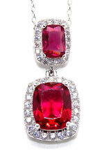 Sterling Silver Ruby And Diamond 6.99ct Necklace (925)