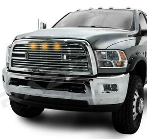 Big Horn 2+3x LED Chrome Replacement Grille+Shell for 10-18 Dodge RAM 2500+3500