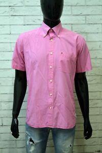 Camicia-Uomo-TOMMY-HILFIGER-Taglia-L-Maglia-Polo-Shirt-Rosa-Hemd-Cotone-Chemise