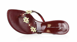 Details about Giuseppe Zanotti Vicini 1023 Beaded Floral Burgundy Flip Flop Heels Size 39.5
